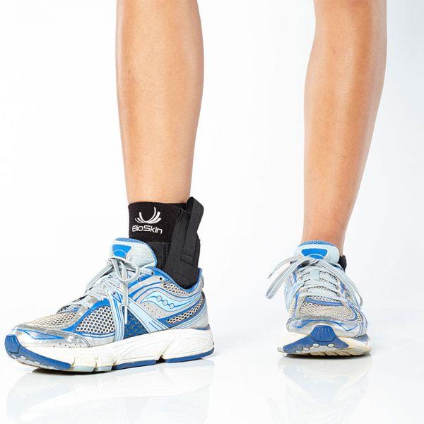 Ankle brace fits in running shoe