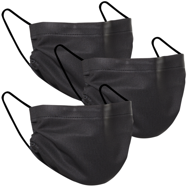 Solid Black - Three Pack Fabric Face Mask