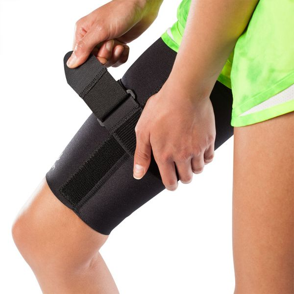 Thigh strain compression sleeve